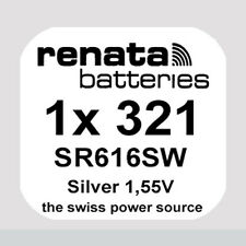 1x Renata 321 Uhren-Batterie Knopfzelle SR616SW Silberoxid Blisterware Neu
