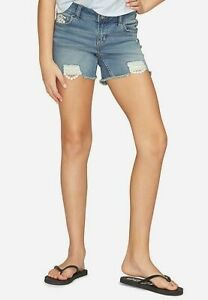 Justice Girls Denim with Lace Destructed Midi Shorts Size 6 Slim - New with Tags