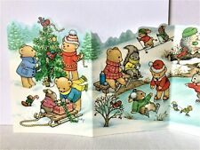 Vtg Christmas Card 1989 Accordian style Current by becky Costumed Animals Unused