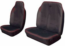 HEAVY DUTY SINGLE AND DOUBLE FRONT VAN BLACK & RED WATER RESISTANT SEAT COVERS