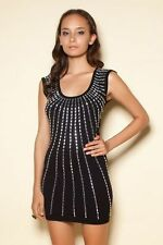 *MOTEL* TOPSHOP* Black Gold Beaded Embellished Bodycon Party Dress UK 12-14 BNWT