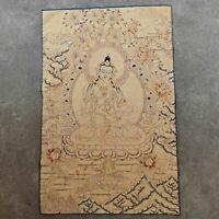 "36"" Tibet Tibetan Cloth Silk Yellow Tara Guanyin Kwan-yin Tangka Thangka Mural"