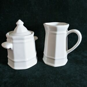 Pfaltzgraff Heritage White Sugar Bowl With Lid And Creamer Set