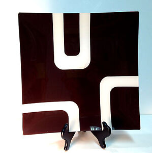 """New! Torre & Tagus 11.75"""" Square Contemporary Geo Brown White Glass Plate"""