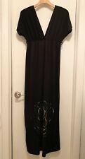 Rhapsody Deep V-Neck Black Maxi Dress with Metallic Rose, Medium, Polyester