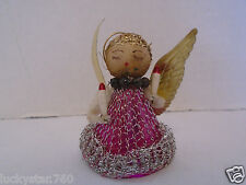 Vintage 1950's  Chenille Pink Angel Christmas Ornament