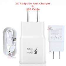 2X Adaptive Fast Charging Charger For Samsung S6/7 Edge Note 4/5 + OEM USB cable