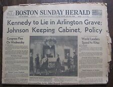 November 24, 1963 Boston Herald Newspaper (partial) John F. Kennedy, LBJ, etc.