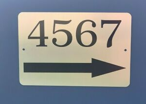 """Personalized Home Address Sign Shiny Brushed Aluminum 12"""" x 8"""" with Right Arrow"""