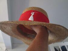 Vintage Golf logo Fashions by Farrar Florida Straw Golf Sun Hat Cap red band