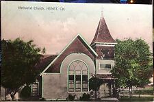 HEMET, CALIFORNIA, Hand Colored Post Card 1905-15 Riverside County, CHURCH