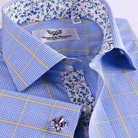 Blue Mini Check Formal Business Dress Shirt Yellow Floral Paisley Boss Flower GQ