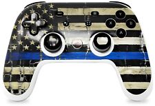 New listing Skin for Stadia Controller Painted Cracked Blue Line Stripe Usa American Flag