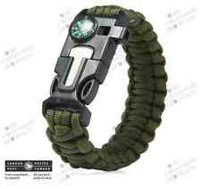 Bracelet Paracorde Vert 9 po. 4 en 1 - Homme Survie Chasse Boussole Cadeau Noël