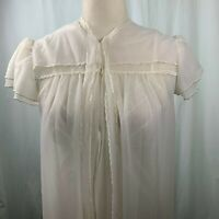 Vintage Val Mode Wedding Peignoir Set S Ivory Chiffon Robe Lingerie Nightgown