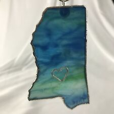 Mississippi State Stained Glass Blue Ornament Window Sun Catcher Handmade Signed