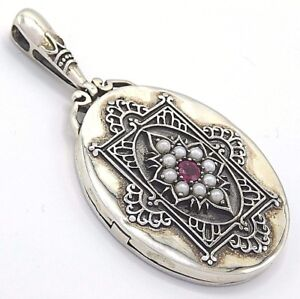 Pendant Ruby & Pearl Photo Medallion for 2 Photos 925er Silver