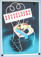 Plakat 50er Düsseldorf elegante gastliche Stadt am Rhein Poster Siegel DIN A1
