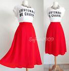 NEW Forever 21 Red RETRO Chic High Waisted Full Flared Skater Midi Length Skirt