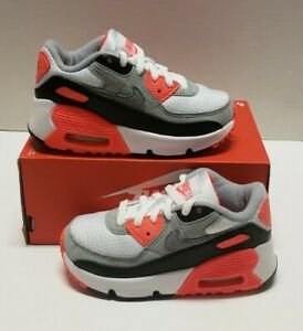 Nike Air Max 90 (TD) Infrared 2020 White/Gry/Black Infant Sz 9c DC8333-100 NOLID