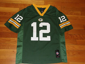 NEW NFL TEAM GREEN BAY PACKERS AARON RODGERS FOOTBALL JERSEY BOYS LARGE 14-16