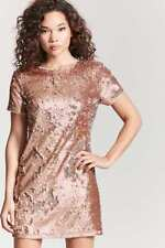 Forever 21 Peach Silver Sequin Cutout Dress Small S