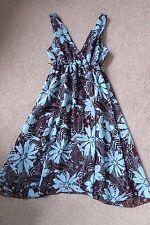 KIAH BROWN TURQUOISE BLUE FLORAL DRESS SIZE 8