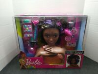 NEW! Just Play Barbie Rainbow Sparkle Deluxe Styling Head - Afro Hair Black Curl