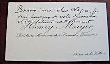 HENRY MAYER Autographe Signé 1933 ACTEUR COMEDIE-FRANCAISE TOULOUSE-LAUTREC
