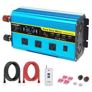 2000W 4000W Power Inverter Pure Sine Wave 12V to 110V 120V  4USB Remote Control