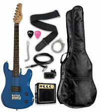 """RAPTOR 3/4 Scale 36"""" Kid's Starter Electric Guitar Pack - BLUE w/ FREE TUNER"""