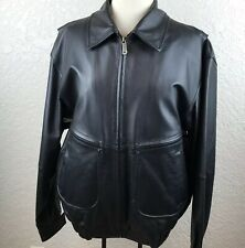Austin Clothing Co Mens Black Leather Jacket Removable Lining Size M