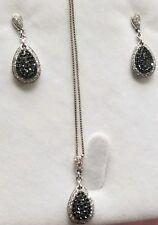Orumia black & white diamond 14 K WG Necklace Pendant & Earrings ($2350 retail)