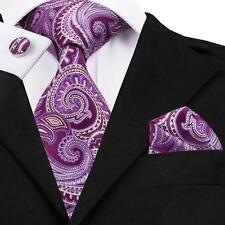 Classic Purple Paisley Mens Tie Set Jacquard Woven Silk Necktie Hanky Cufflinks
