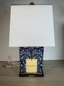 Ralph Lauren Asian Blue White Floral Porcelain Square Table Lamp & Shade NEW #9A