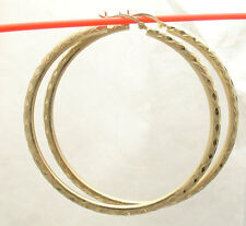 "3mm X 60mm 2 3/8"" FULL Diamond Cut Hoop Earrings REAL 10K Yellow Gold FREE SHIP"