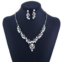 Fashion Bride Wedding Party Pearl Earrings Necklace Pendant Jewelry Set