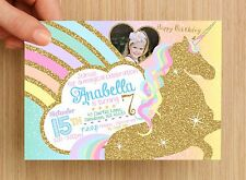 Personalised Unicorn Rainbow Kids Birthday Invitation #3 - UNLIMITED QTY