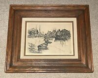 1955 Midcentury Framed Lionel Barrymore Etching Talio-Print By Brown & Bigelow