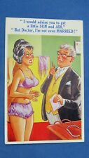 Risque Comic Postcard 1950s Big Boobs Knickers Panties Doctor Stethoscope Theme