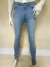 "Topman Mens Light Blue Spray on Skinny Slim Fit Mid Rise Stretch Jeans 32"" Waist"