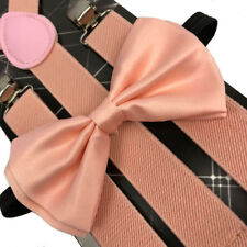 Peach Pink Wedding Bow Tie & Suspender Set- Adjustable Bow Tie & Suspenders