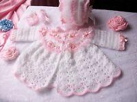 Free P&P,Baby crochet pattern, coat, bonnet + booties. Matinee set, Romany, Girl