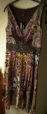 Spense Brown Multi Color Sleeveless Cotton V-Neck Lined Career Sundress. Sz 8