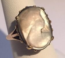Women's Vintage 14K Yellow Gold Ring w/ Hand Carved MOP Cameo Size 6.75