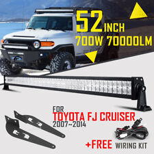 "52"" 700W LED Work Light Bar Spot Flood+Mount Bracket For Toyota FJ Cruiser 07-14"