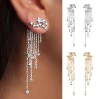 Chic Women Crystal Rhinestone Star Long Tassel Drop Dangle Stud Earrings Jewelry