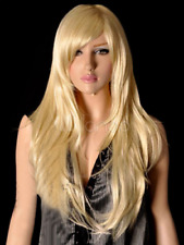 100% Real Hair!Gold Blonde Natural Straight Classic Chic Long Wig