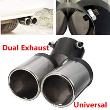1X DIY Car Dual Exhaust 60mm Chrome Stainless Steel Muffler Pipe Tip Tail Throat