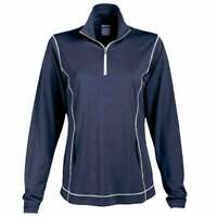 Page & Tuttle Coverstitch Heather Mock Neck Pullover  Athletic   Outerwear Navy